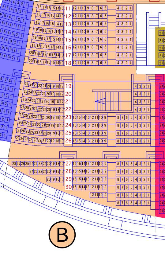 ガイシホールスタンド座席表B