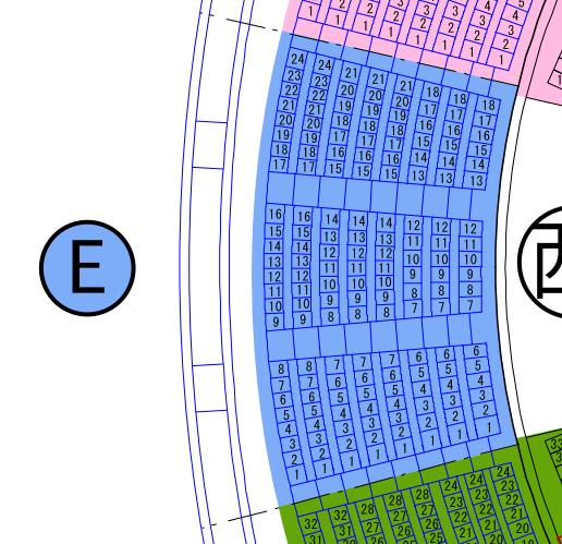 ガイシホールスタンド座席表E
