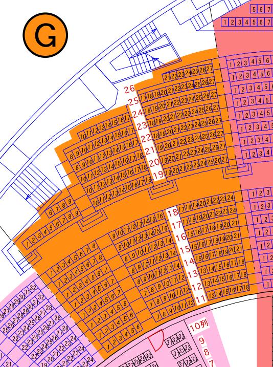 ガイシホールスタンド座席表G