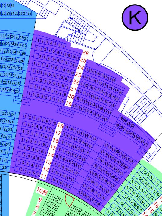 ガイシホールスタンド座席表K