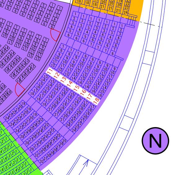 ガイシホールスタンド座席表N