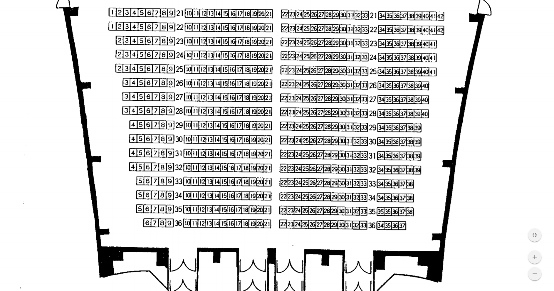 千葉県文化会館大ホール(1F前方)座席表