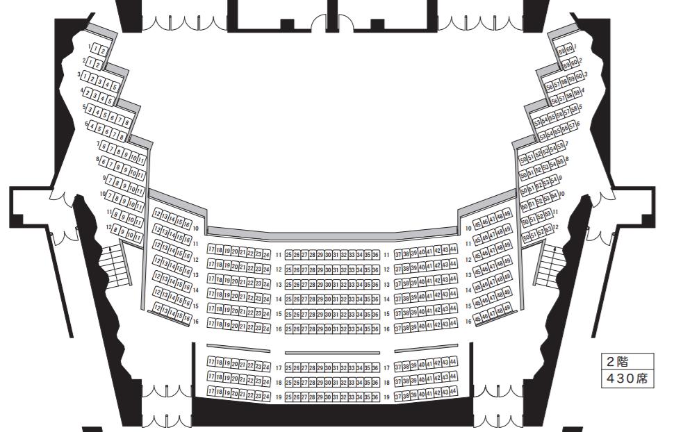 宇都宮市文化会館大ホール2F座席表