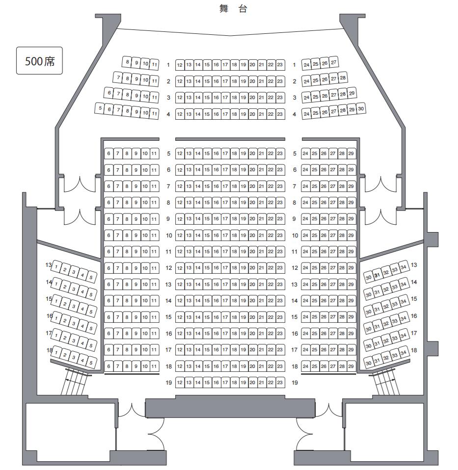 宇都宮市文化会館小ホール座席表