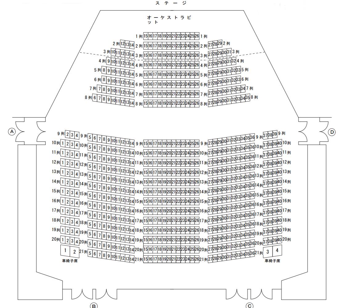 山梨県立県民文化ホール小ホール座席表
