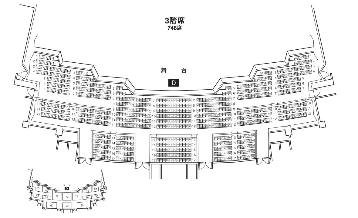 パシフィコ横浜国立大ホールの座席表3階席