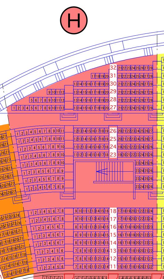 ガイシホールスタンド座席表H