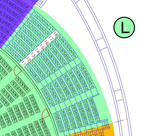 ガイシホールスタンド座席表L