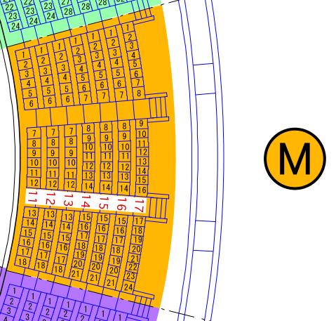 ガイシホールスタンド座席表M