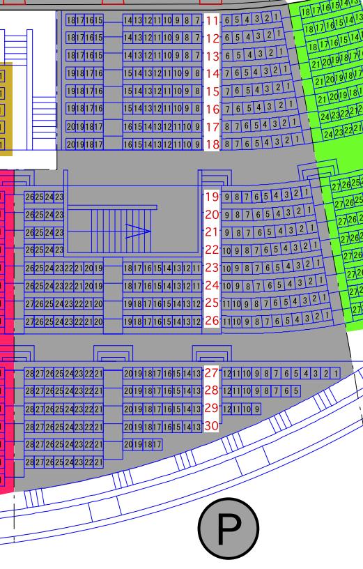 ガイシホールスタンド座席表P