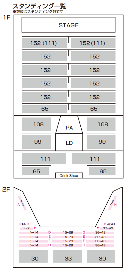 zeep東京スタンディング時座席図