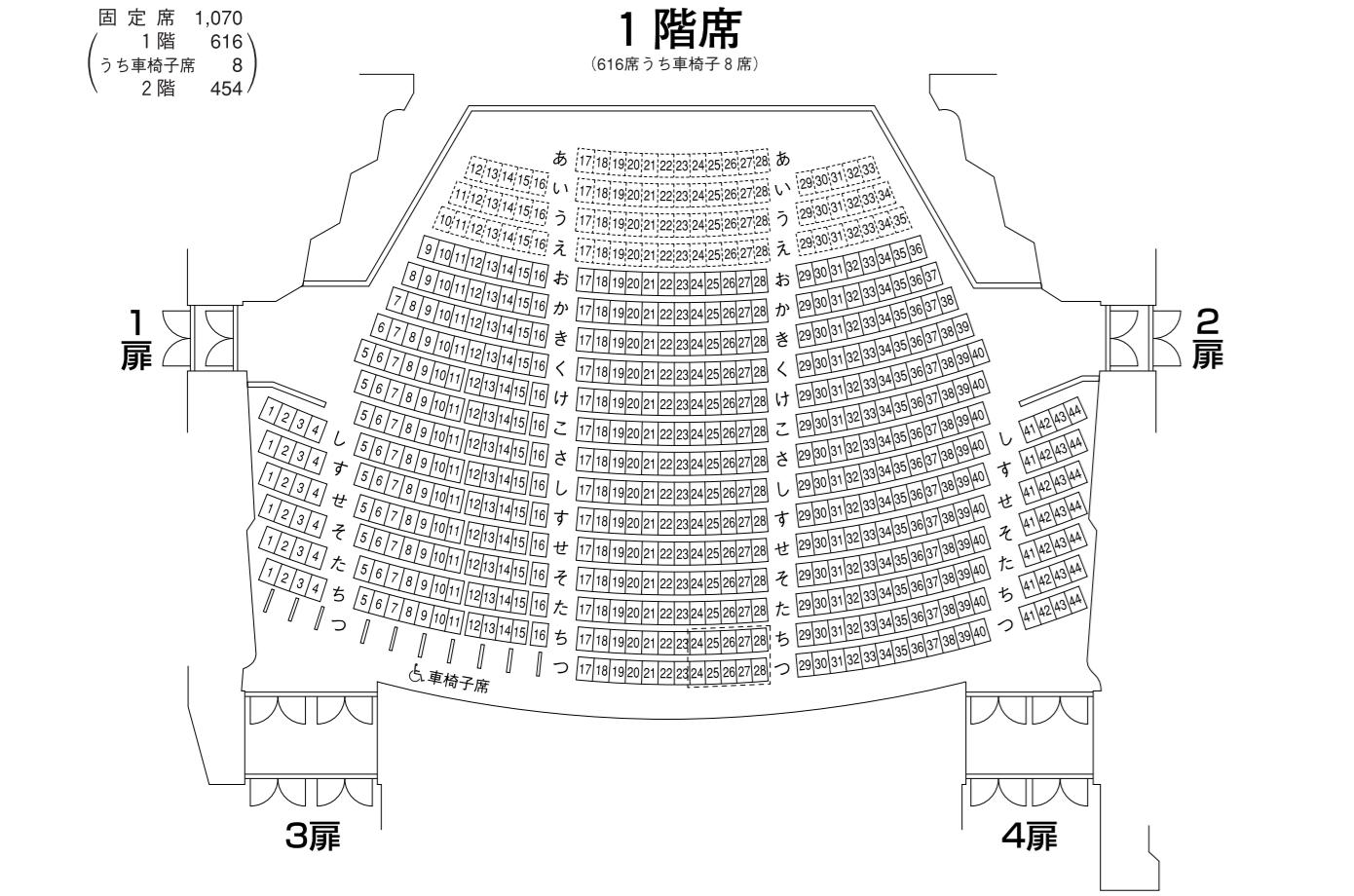 長野県県民文化会館中ホール1階席座席表