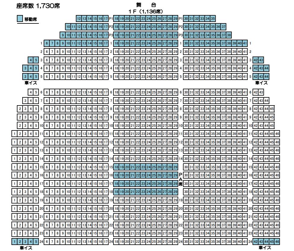 新潟県民会館大ホール(1F)座席表
