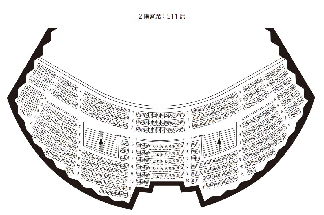 岐阜市民会館2Fの座席表