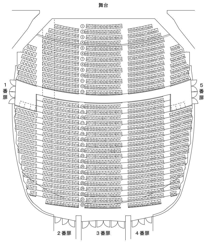 こくさいホール座席表1階席