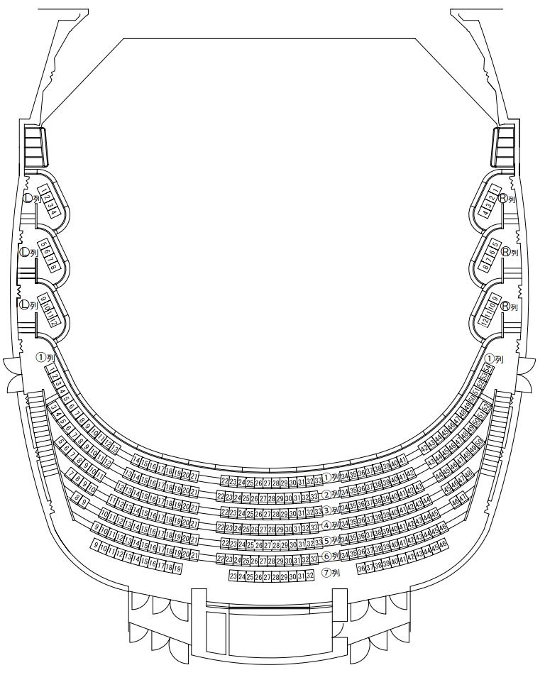 こくさいホール座席表2階席