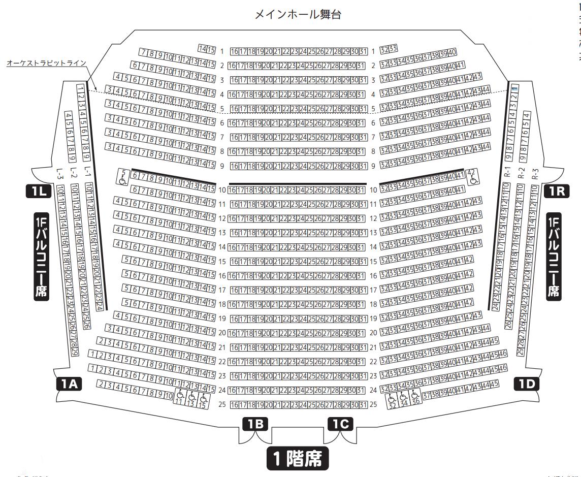 京都会館メインホール1階席座席表
