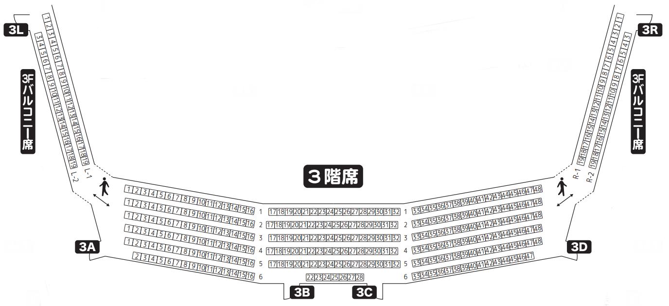 京都会館メインホール3階席座席表