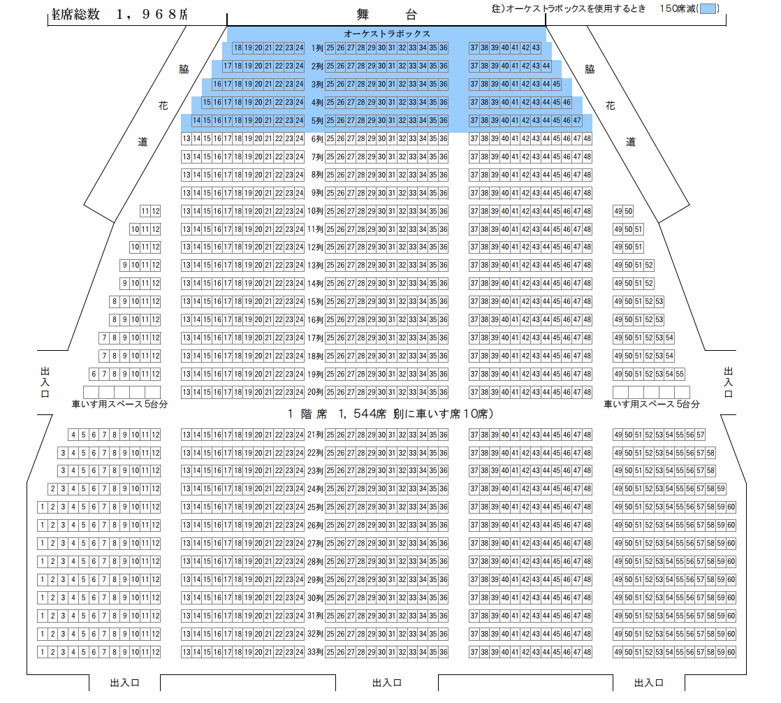 静岡市民文化会館1階席の座席表