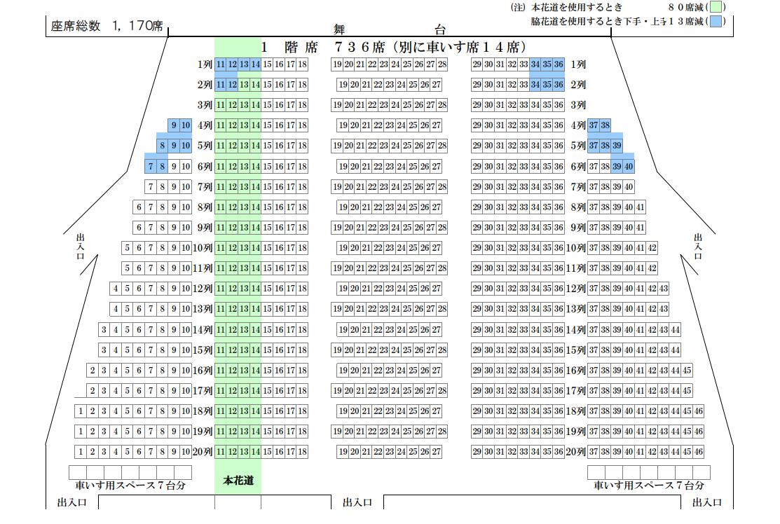 静岡市民文化会館中ホール1階席の座席表